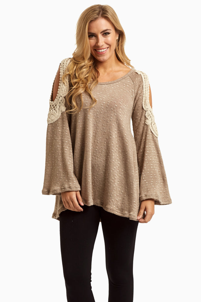 Taupe Open Crochet Shoulder Knit Maternity Top