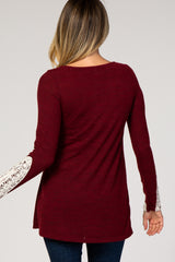 Burgundy Lace Cuff Knit Top