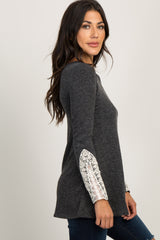 PinkBlush Charcoal Lace Cuff Knit Top