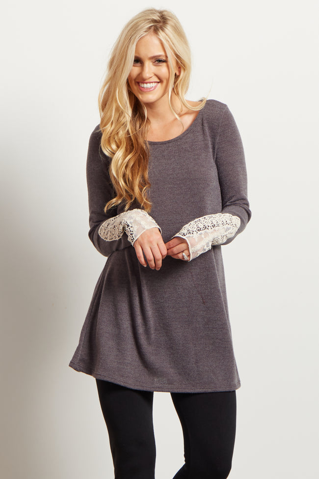 Dark Mocha Lace Cuff Knit Top