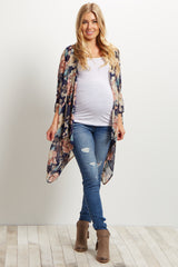 Blue Distressed Ankle Maternity Skinny Jeans