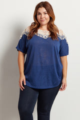 Blue Crochet Neck Knit Plus Size Top