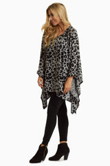 Grey Leopard Knit Poncho Tunic