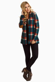 Teal Plaid Elbow Patch Open Cardigan
