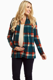 Teal Plaid Elbow Patch Open Maternity Cardigan