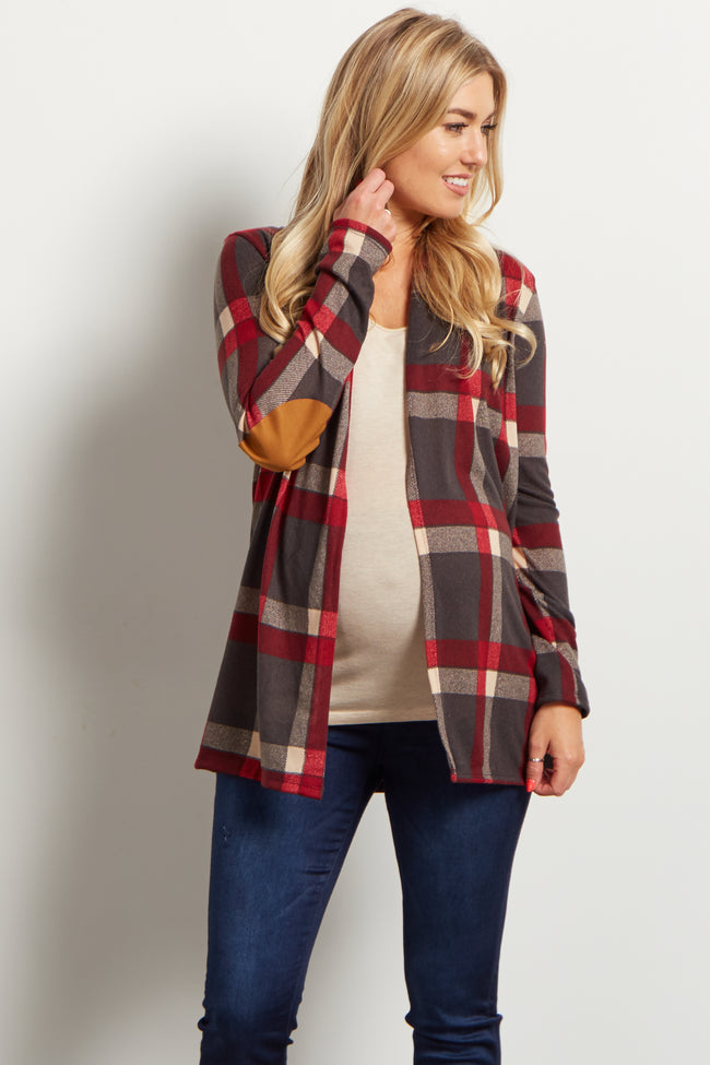 Grey Plaid Elbow Patch Open Maternity Cardigan