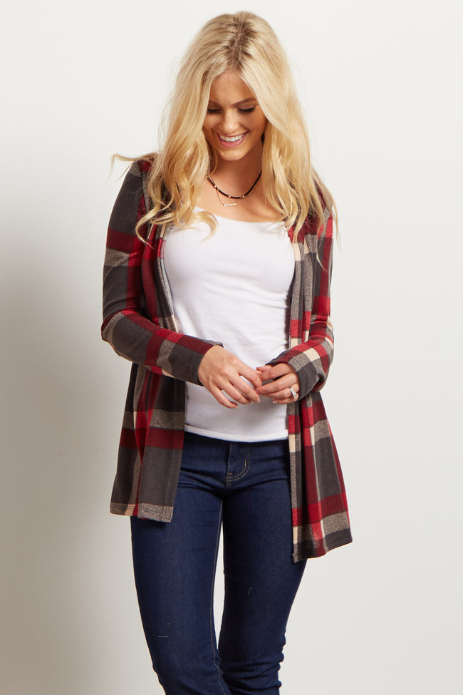 Grey Plaid Elbow Patch Open Cardigan