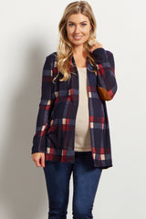 Navy Plaid Elbow Patch Open Maternity Cardigan