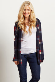 Navy Plaid Elbow Patch Open Cardigan