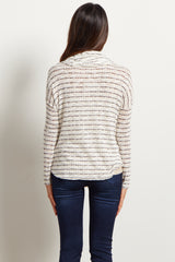 Ivory Striped Cowl Neck Knit Maternity Top