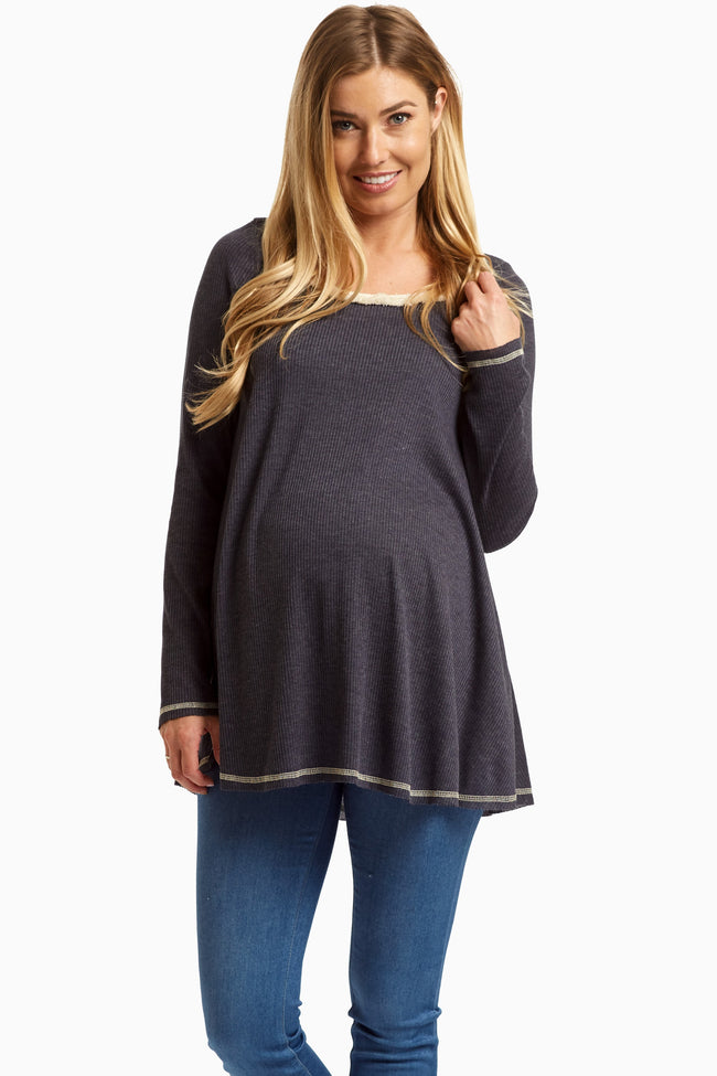 Navy Fringed Neck Knit Maternity Top