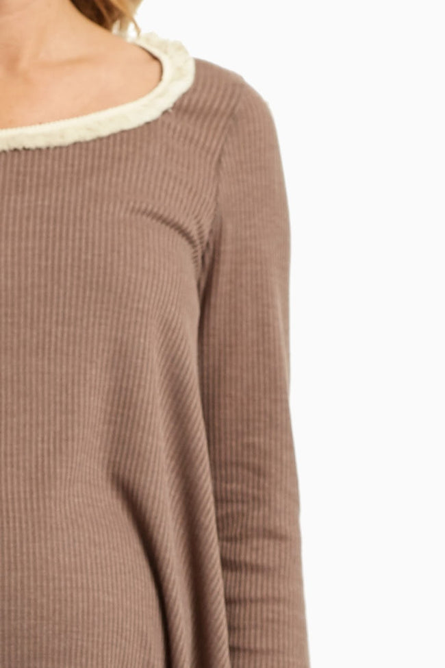 Brown Fringed Neck Knit Maternity Top