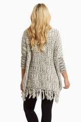 Black White Fuzzy Knit Fringed Maternity Poncho