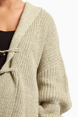 Beige Hooded Knit Maternity Cardigan