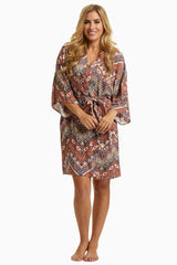 Pink Tribal Chevron Delivery/Nursing Maternity Robe