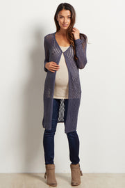 Navy Open Knit Duster Maternity Cardigan