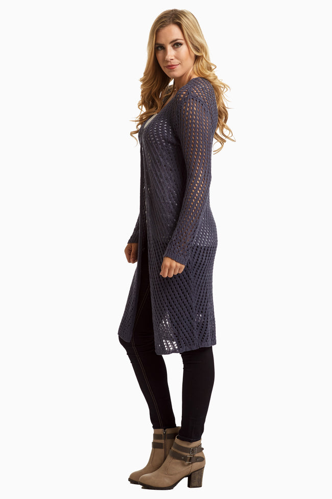 Navy Open Knit Duster Cardigan