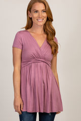 PinkBlush Mauve Draped Front Maternity/Nursing Top
