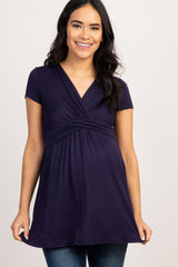 PinkBlush Navy Draped Front Maternity/Nursing Top