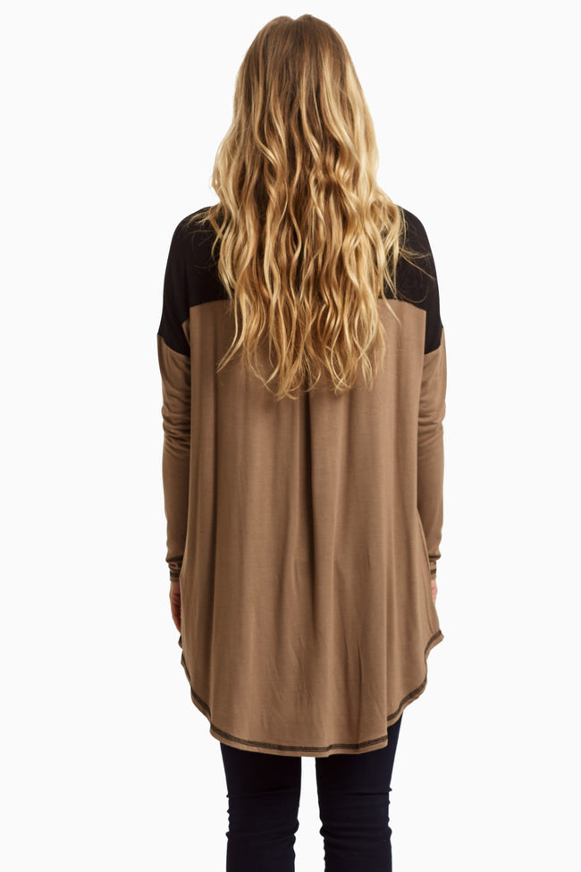 Mocha Black Colorblock Maternity Tunic