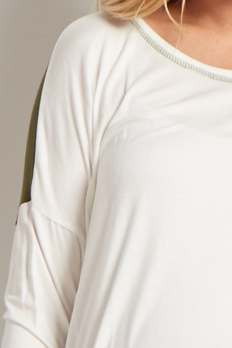White Olive Colorblock Maternity Tunic