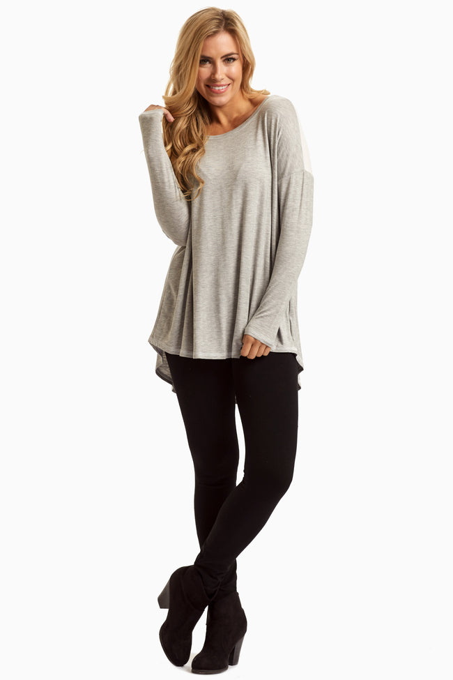 Grey White Colorblock Maternity Tunic