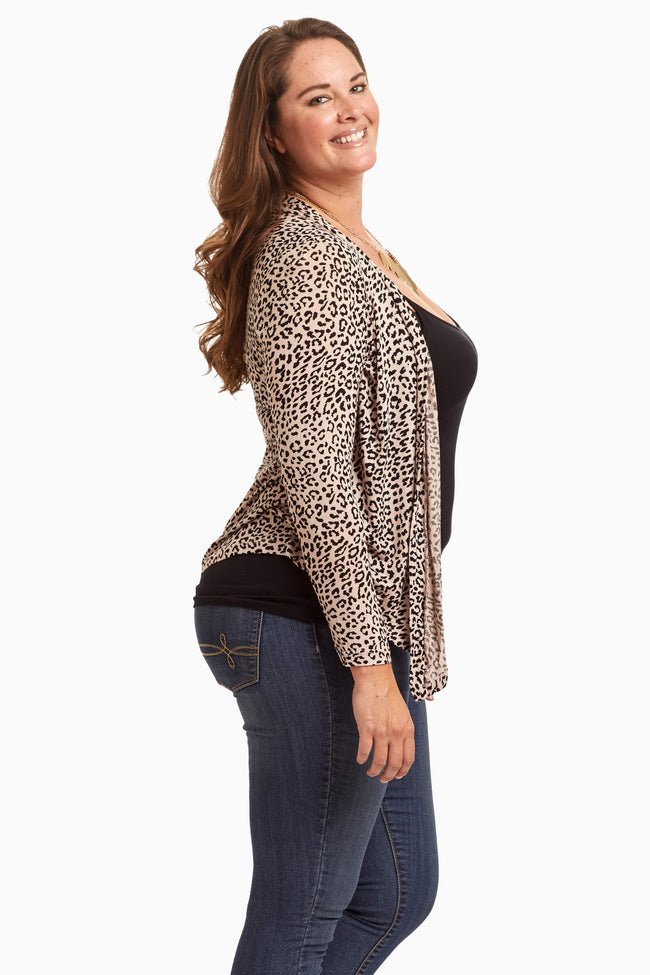 Beige Cheetah Printed Open Plus Size Cardigan