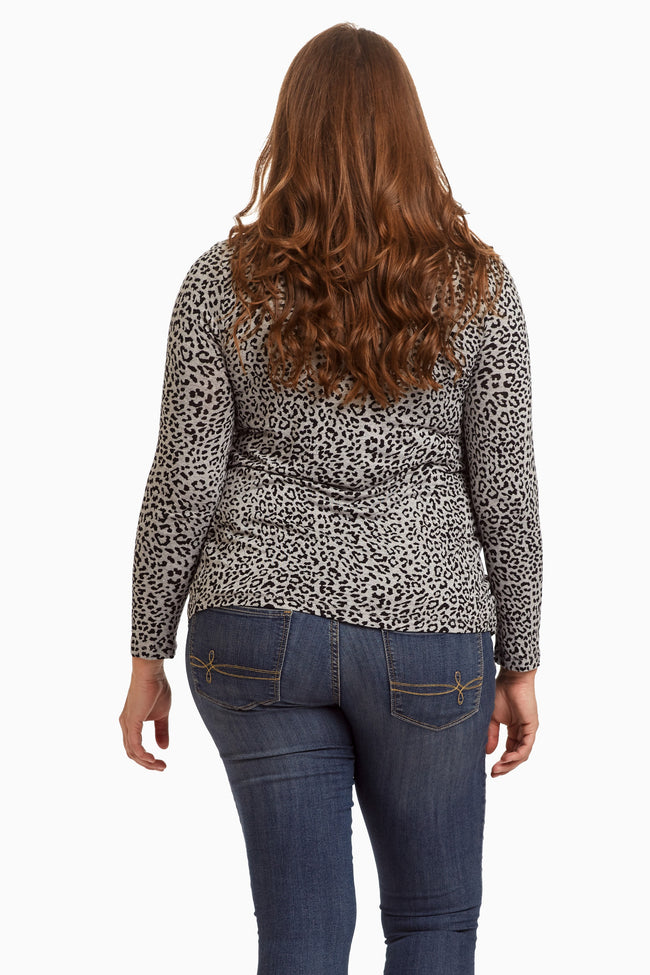 Grey Cheetah Printed Open Plus Size Cardigan