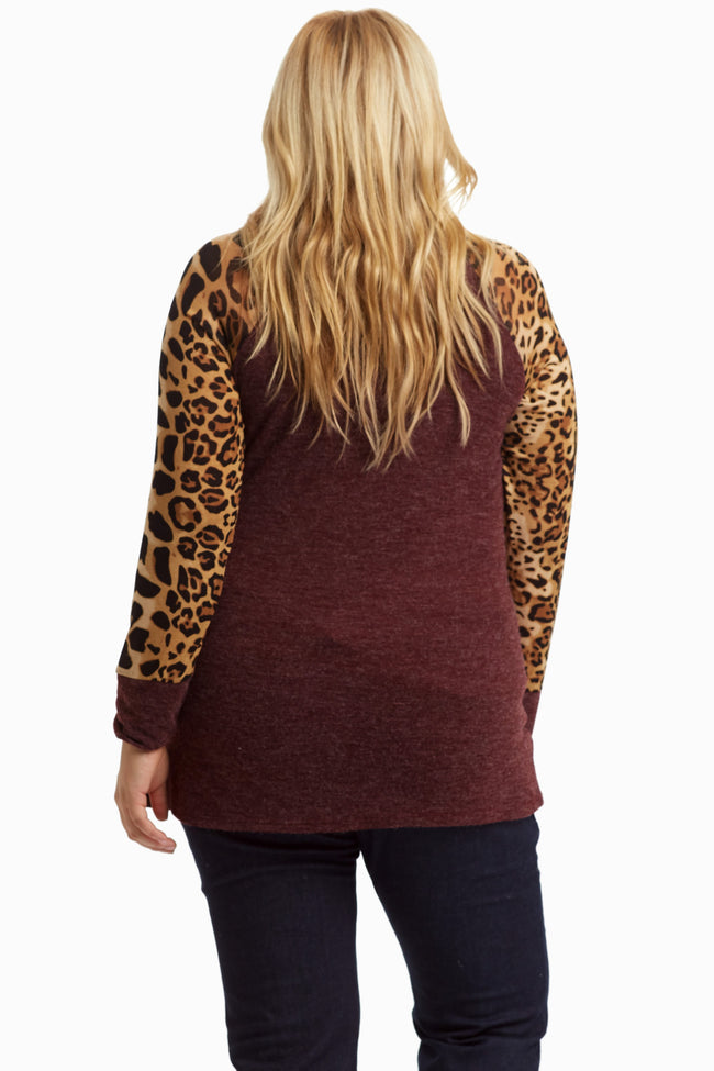 Burgundy Cheetah Printed Sleeve Plus Size Maternity Top
