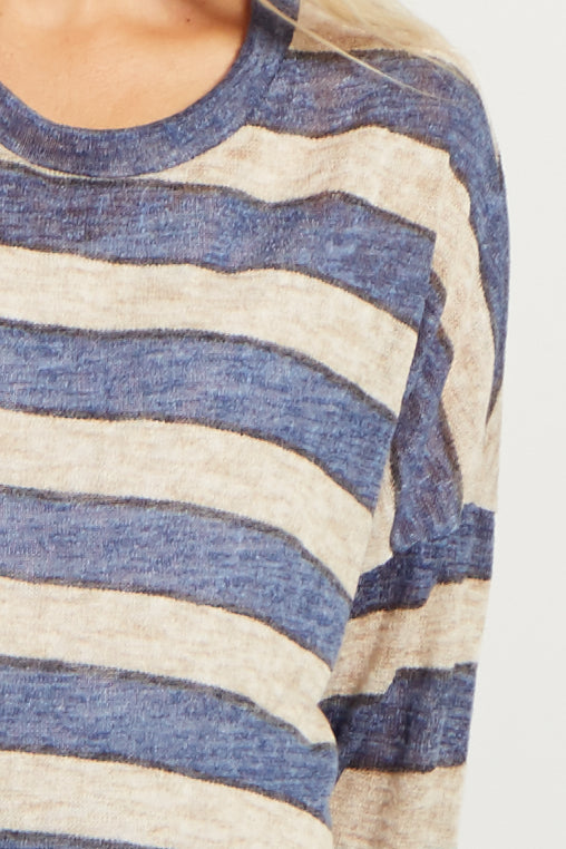Navy Striped Lightweight Knit Maternity Top