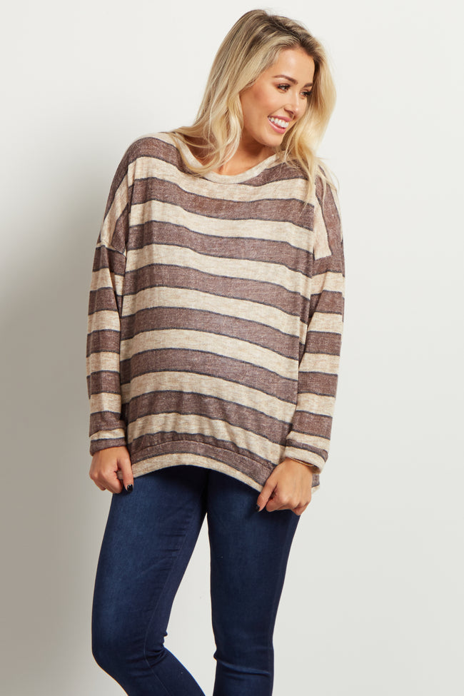 Brown Striped Lightweight Knit Maternity Top
