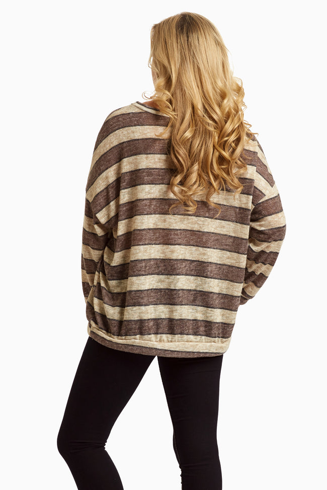 Brown Striped Lightweight Knit Top