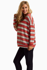Red Striped Lightweight Knit Top