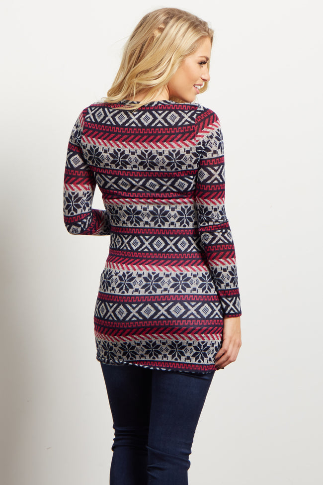 Magenta Navy Snowflake Button Front Maternity Top