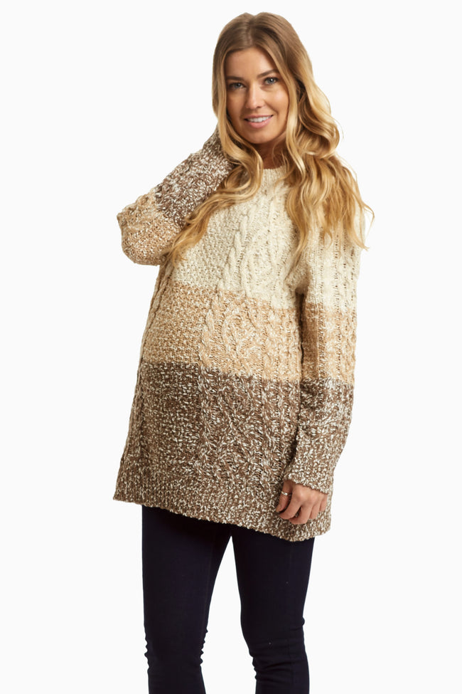 Mocha Colorblock Knit Maernity Sweater