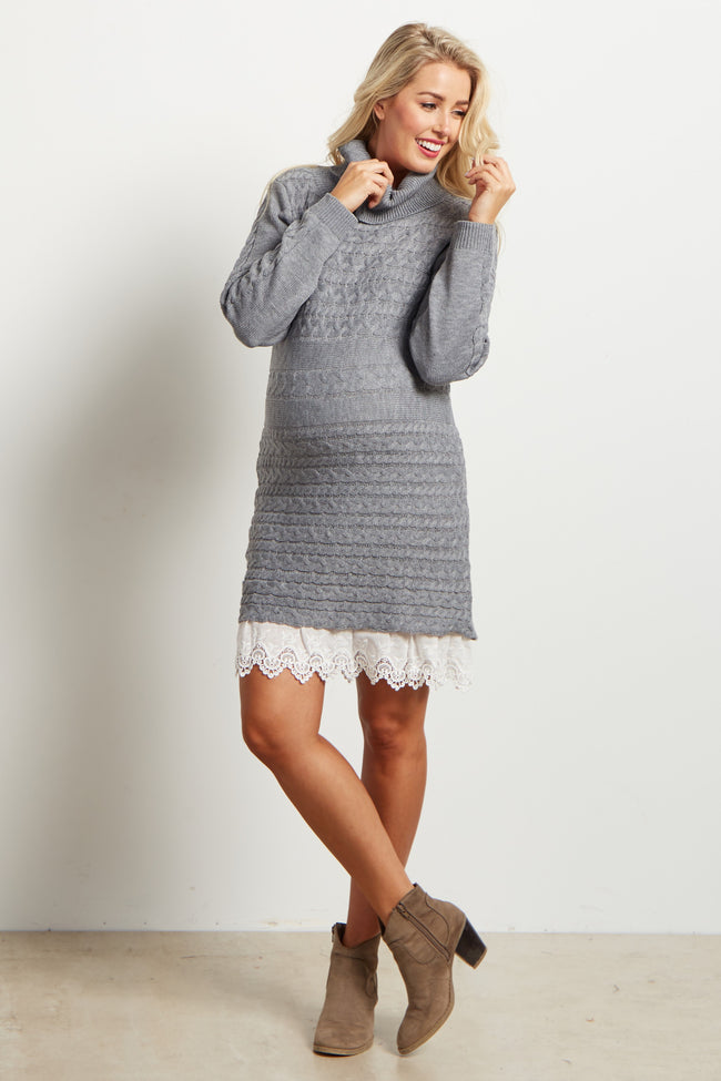 Charcoal Lace Trim Cowl Neck Knit Maternity Dress
