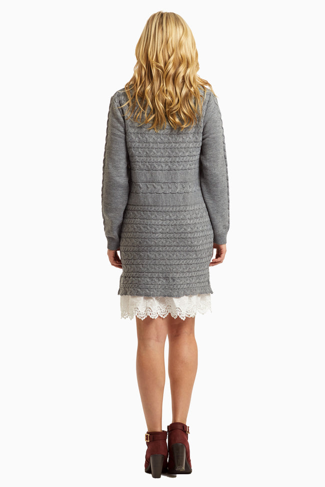 Charcoal Lace Trim Cowl Neck Knit Dress