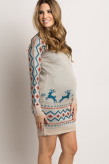 Beige Reindeer Fitted Maternity Sweater Dress