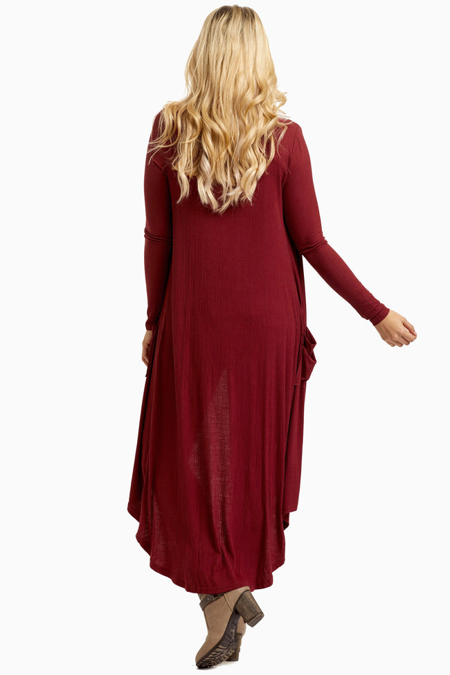 Burgundy Button Up Long Maternity Cardigan