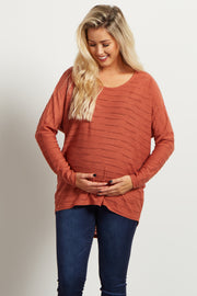 Rust Wave Textured Maternity Top