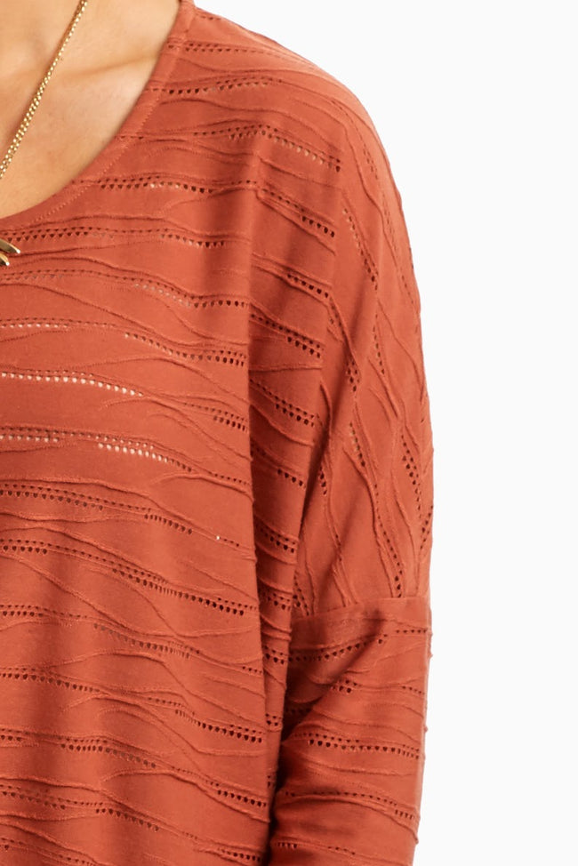 Rust Wave Textured Top