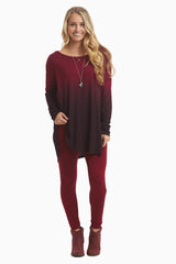 Burgundy Black Ombre Long Sleeve Maternity Top
