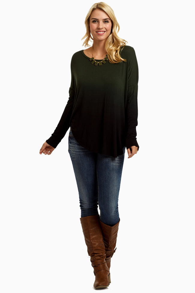 Olive Black Ombre Long Sleeve Top