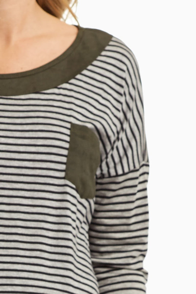Grey Striped Faux Suede Neckline Maternity Top