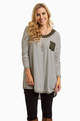 Ivory Striped Faux Suede Neckline Top