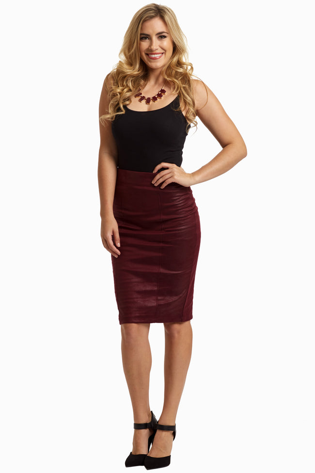 Burgundy Slim Fit Pencil Skirt
