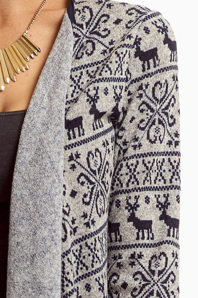 Grey Navy Reindeer Printed Knit Cardigan