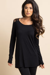 Black Sequin Shoulder Long Sleeve Maternity Top