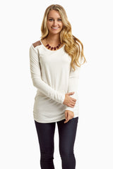 White Sequin Shoulder Long Sleeve Top