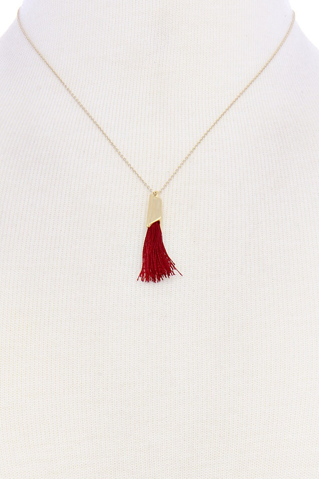 Red Delicate Tassel Necklace
